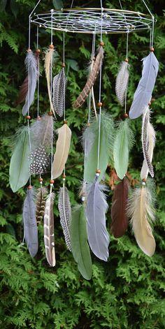 Woodland Nursery Mobile Decor Dreamcatcher Feathers Mobile
