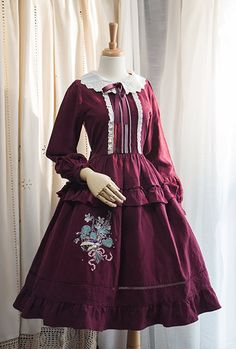 Surface Spell -I Don't Want To Be Anne of Green Gables- Vintage Classic Embroidery Lolita OP Dress