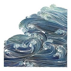 Ocean Waves in Blue and Green- Watercolor Archival Print ❤ liked on Polyvore featuring home, home decor, wall art, green wall art, green painting, blue painting, watercolour painting and water colour painting