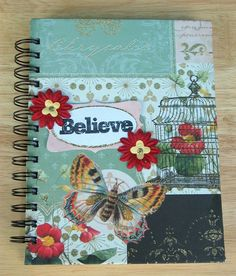 Journal  Wire Bound Handmade Notebook by webescrapbooking on Etsy, $15.00