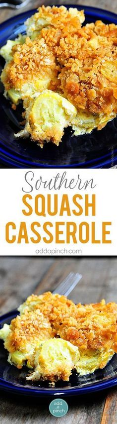Southern Squash Casserole - Squash Casserole is an essential dish for holidays and special events. Topped with a buttery cracker topping, this squash casserole is an all-time favorite! // addapinch.com