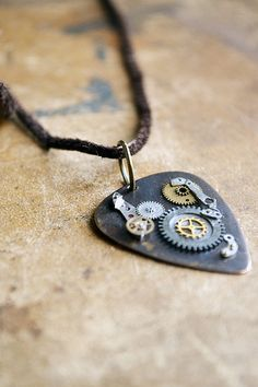 Guitar Pick Necklace - OOAK - Metal Guitar Pick - Musician - Mens Necklace - Steampunk Jewelry