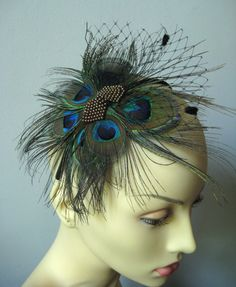 Peacock butterfly headband or clip with russian netting