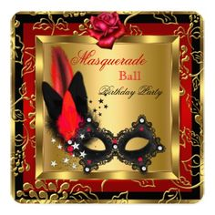 Shop Masquerade Party Ball Gold Red Black Mask Rose Invitation created by Zizzago. Red Birthday Party, 70th Birthday, Sweet 16 Masquerade, Masquerade Ball, Masquerade Party Invitations, Birthday Invitations, Red Gold, Red Black, Gold Lace