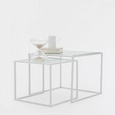 VIERKANTE TAFELS MET GLAS (SET VAN 2) - Bijzetmeubels | Zara Home Holland 100