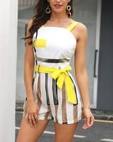 Colorblock Striped Thin Strap Romper Hatsfall fashion trends Going Out,fall fashion trends Closet,fall fashion trends Belts, Estilo Fashion, Ideias Fashion, Two Piece Rompers, Ruffle Romper, Rompers Women, Pattern Fashion, Trendy Outfits, Fashion Outfits, Sleeve Styles