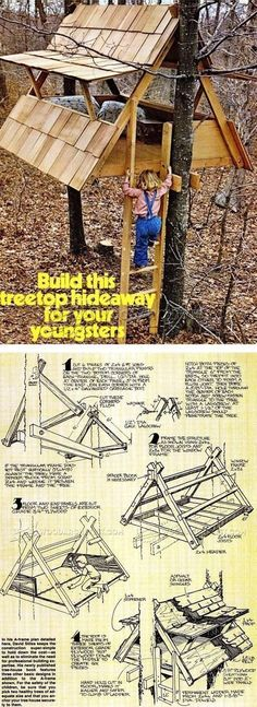 Build Treehouse - Children's Outdoor Plans and Projects #woodworkingplans