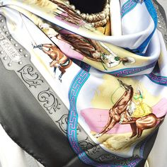 Authentic Hermes Vintage Silk Scarf Charreada Gray and Light Blue