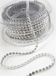 Diamond Rhinestone Wrap - Metal Diamond Ribbon Mesh 1 Row 5 yards