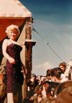 Marilyn Monroe while performing for the troops in Korea, 1954.