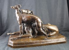 A bronze study of a Borzoi and a Whippet by Georges Gardet . Signed Gardet and inscribed with the F Barbedienne foundry mark. French, circa 1890.  $8000.