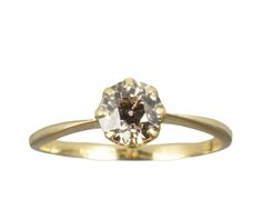 Victorian 0.62ct Champagne Diamond Solitaire Ring (1)