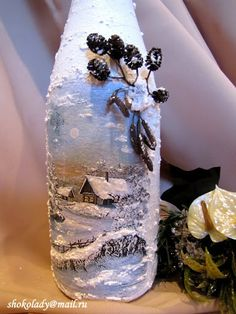 snow frosted bottle I'm thinking I'm not talented enough to paint this, but could put a Thomas Kincaid pic still do the snow! Glass Bottle Crafts, Wine Bottle Art, Painted Wine Bottles, Lighted Wine Bottles, Painted Wine Glasses, Christmas Decoupage, Christmas Crafts, Christmas Wine Bottles, Jar Art