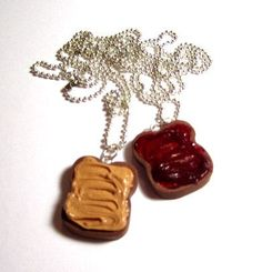 Peanut Butter And Jelly Polymer Clay Bestfriend Necklaces - KIR!  WE NEED THIS!!!