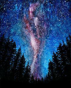 Acuarela de una escena de noche hermosa cielo, vía Láctea, galaxia. Esta impresión es de mi acuarela original.  * Marca de agua no estará presente en su impresión.  * Usted recibirá: Tamaño: 8 x 10 pulgadas Papel: Impreso en 100lb de ropa cubierta, hermosa textura lino  * Opción de imagen con