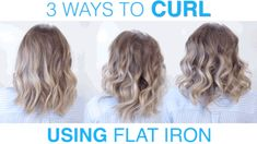 3 SIMPLE WAYS to CURL hair using FLAT IRON ? 3 WAYS to CURL hair using FLAT IRON ? These techniques will change the way you curl your hair with the flat iron or hair straightener. You will be able to achieve the curls you are looking f Loose Curls Short Hair, Flat Iron Short Hair, Curling Hair With Flat Iron, Curling Thick Hair, Curls For Medium Length Hair, Curled Hairstyles For Medium Hair, Loose Curls Hairstyles, Flat Iron Curls, How To Curl Short Hair