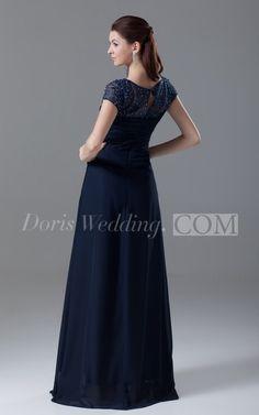 Bateau-Neck Short-Sleeve Floor-Length Chiffon Dress With Beading
