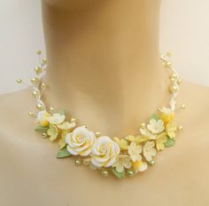 Lemon jewelry  Ombre jewelry  Roses  Handmade by insoujewelry, $72.00