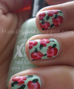 I can see in this picture rose nail tutorial! . I like it so much the colour is so cool and nice with a red roses .