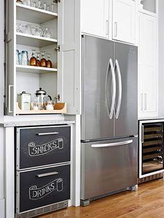 Love the built in storage around the fridge