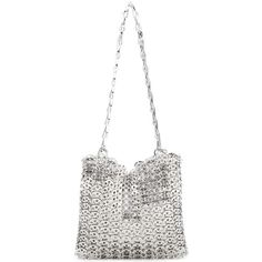 Paco Rabanne Chain Mail Shoulder Bag (£1,400) ❤ liked on Polyvore featuring bags, handbags, shoulder bags, shoulder bag purse, shoulder hand bags, white shoulder handbags, chainmail purse and white purse