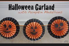 DIY Halloween Garland with Pumpkin Medallions Tutorial