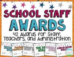 **The BEST SELLING Staff Awards on TpT!** Teachers deserve awards, too! Your staff and colleagues are going to LOVE getting their very own recognition with these staff awards! These are perfect for the end of the year or teacher appreciation week at your Teacher Awards, Teacher Appreciation Week, Teacher Gifts, Teacher Stuff, Appreciation Gifts, Employee Appreciation, Teacher Tools, End Of School Year, School Staff