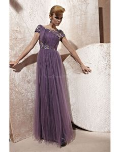 grape ruching a-line tulle cape sleeve crystals evening dress - newdress2014.com