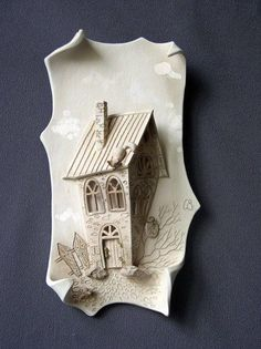 This Pin was discovered by Iri Ceramic Tile Art, Ceramic Houses, Ceramic Clay, Pottery Houses, Slab Pottery, Ceramic Pottery, Ceramic Techniques, Pottery Techniques, Clay Wall Art