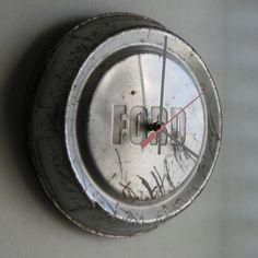 Ford hubcap clock