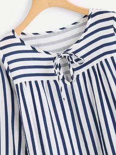 design of blouse Contrast Stripe Tie Neck BlouseFor Women-romwe Kurta Designs Women, Kurti Neck Designs, Dress Neck Designs, Designs For Dresses, Blouse Designs, Kurti Sleeves Design, Casual Hijab Outfit, Blouse Models, Tie Neck Blouse