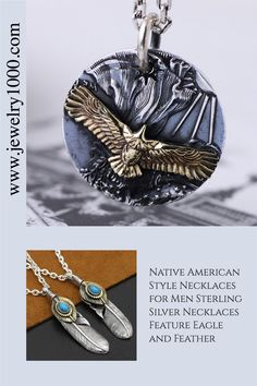 Representing a spirit of freedom, jewelry that features eagle and feather is always loved by men. Our collection of eagle and feather necklaces are made of solid 925 sterling silver, with sterling silver chains from 18 inches to 30 inches. #Jewelry1000 #sterlingsilvernecklace #menssilvernecklace #feathernecklace #eaglenecklace #giftformen #valentinesdayidea