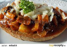 Žampionová směs na topinky recept - TopRecepty.cz Czech Recipes, Ethnic Recipes, Baked Potato, Sandwiches, Stuffed Mushrooms, Brunch, Food And Drink, Appetizers, Treats