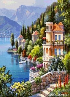 If you are a landscape and natural painting lover then this is the best combination for you. Grab this amazing painting Lakeside Town Beautiful Landscape DIY Paint By Number and take your home decor to the next level Oil Painting On Canvas, Diy Painting, House Painting, Canvas Art, Diy Canvas, Wall Canvas, Canvas Frame, Beautiful Paintings, Beautiful Landscapes
