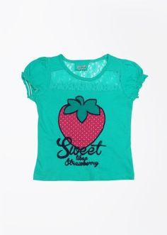 People Casual Short Sleeve Printed Girl's Top