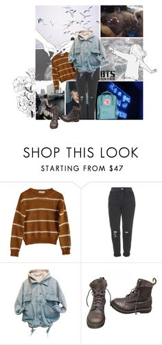 """""""s e a // BTS"""" by kath-artic ❤ liked on Polyvore featuring GET LOST, Samuji, Topshop, Dr. Martens and Fjällräven"""