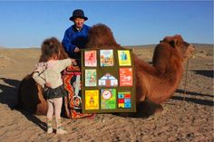 Jambyn Dashdondog, Mongolian children's books author and his Camel Library in Gobi Desert, Mongolia. Little Free Libraries, Little Library, Free Library, Library Books, Library Ideas, I Love Books, Books To Read, Children's Books, Story Books