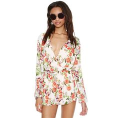 Fashion Playsuit Women Long Sleeve Romper Waist Casual Chiffon Romper