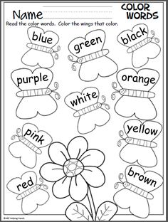 Color Words Activity Free spring butterfly coloring page. Students color the butterfly wings to match the words.Free spring butterfly coloring page. Students color the butterfly wings to match the words. Kindergarten Colors, Preschool Colors, Kindergarten Literacy, Preschool Learning, Kindergarten Worksheets, Preschool Activities, Teaching, Graphing Worksheets, Color Word Activities