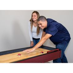 Shop Challenger 9-Ft Shuffleboard Table - Dark Cherry Finish - Overstock - 6217673 Shuffleboard Games, Mdf Cabinets, Diy Table Saw, Friend Jokes, Humid Weather, Cherry Finish, Sports Toys, Table Games, Built In Storage