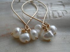 Bridal Three Simple White Fresh Water Pearls Handmade Earrings, In Gold, Anniversary , Wedding, Bridal, For Her, Statement Gift,