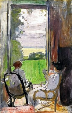 Lucy Hessel and Jeanne Strauss at Étincelles -  Edouard Vuillard 1902  Post-impressionism