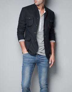 Zara Piqué Safari Jacket in Blue for Men (navy) | Lyst