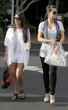 Kim & Kourtney #Kardashian #Style #Sunglasses #White