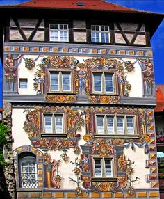 Konstanz, Germany  ~ beautifully painted house German Architecture, Beautiful Architecture, German Houses, Colourful Buildings, Central Europe, Germany Travel, House Painting, Monuments, Wonderful Places
