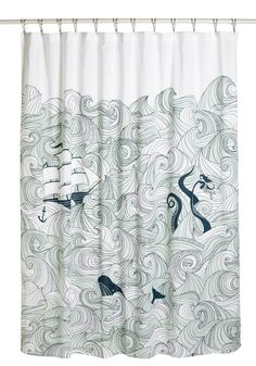 Swell Acquainted Shower Curtain - Multi, Blue, Dorm Decor, Quirky, Novelty Print, Nautical