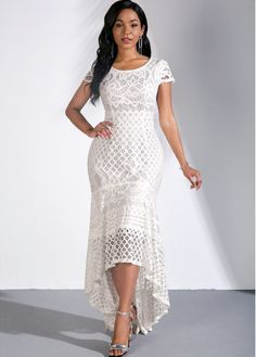 Size:XS;Size:L;Color:White;Size:M;Size:S;Size:XL;Washing Instructions:Hand Wash /Machine Washable;Color Scheme:White;Dress Length:Maxi;Material:95% Polyester, 5% Spandex;Style:Elegant;Pattern Type:Solid;Occasion:Party;Clothing Length:143.00;Silhouette:Mermaid;Neckline:Round neck;Package Contents:1 X Dress;Sleeve's Length:Short Sleeve; Women's Fashion Dresses, Sexy Dresses, Elegant Dresses, Short Sleeve Dresses, Dresses With Sleeves, Party Dress Sale, Club Party Dresses, Latest Dress For Women, White Lace Shorts