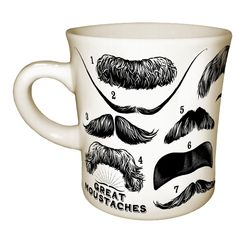 Celebrate the most masculine of facial hair formations with the moustache's greatest hits on a mug.