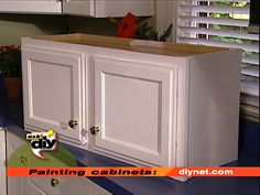 How to Paint Kitchen Cabinets -  Give your kitchen a fresh look by painting wood-stained cabinets.