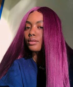 Blue High Temperature Fiber Wigs Long Natural Straight Synthetic Lace Front Wig For Women Baddie Hairstyles, Black Girls Hairstyles, Straight Hairstyles, Cool Hairstyles, Medium Hairstyles, Hairdos, Natural Hair Tips, Natural Hair Styles, Hair Laid